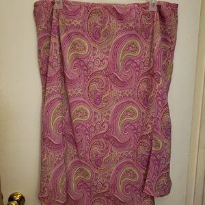Lane Bryant Pink Lime Sheer Paisley A Line Skirt